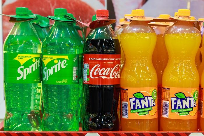Газировка Sprite, Coca-Cola, Fanta