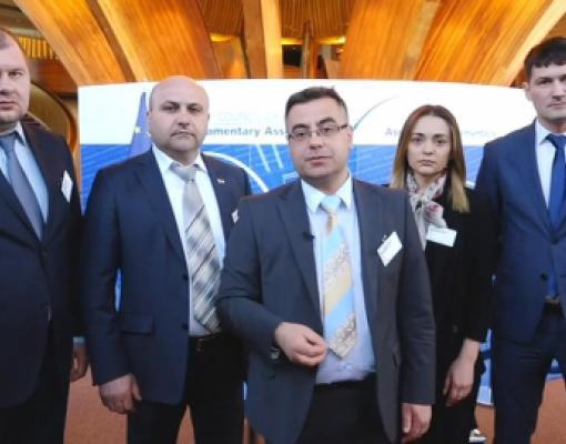 Делегация «Нашей Партии» во время визита в Совет Европы.