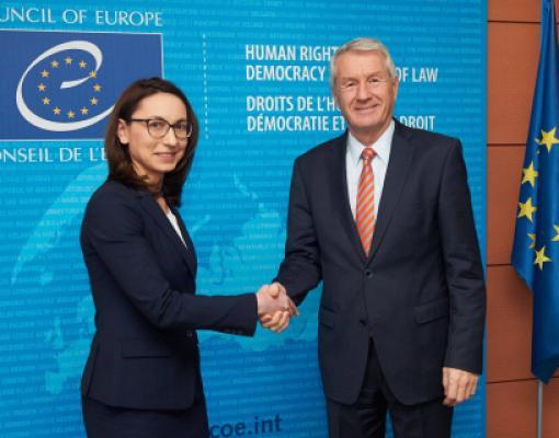 Посол Корина Кэлугэру вместе с генеральным секретарем Совета Европы Тубьерном Ягландом при вручении верительных грамот
