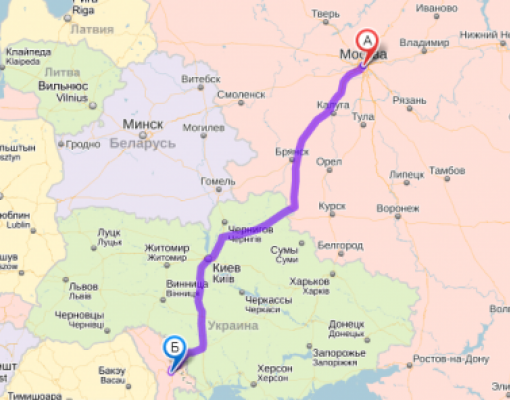 Карта Кишинёв - Москва