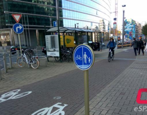 Велодорожка в Брюсселе, недалеко от здания Европейской комиссии