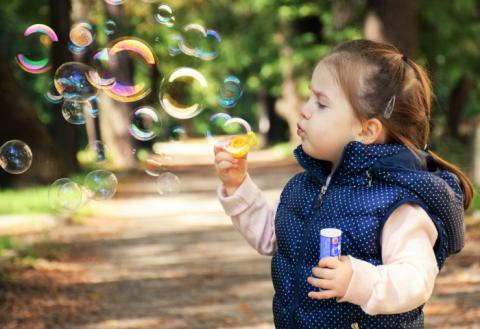 дети, девочка, пузыри, ребёнок