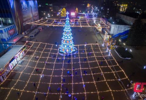 Новогодняя ёлка в Бельцах с высоты